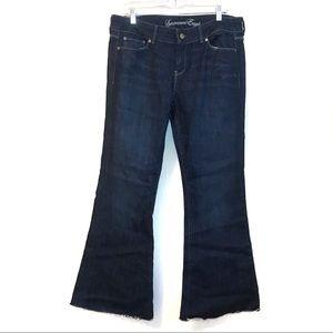 American Eagle Size 14 Flare Jeans Raw Hem Dark